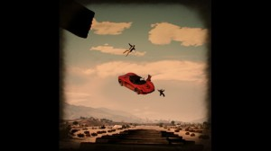 """""""Spaced Out Vintage Style"""" byTinklyMage is aperfectly timed and impeccably composed action shot of acouple of unlucky Businessmen who seem tohave taken awrong turn somewhere in their brand new red Grotti Turismo R. Hope they packed an extra 'chute for that kind of hang-time or it'll be anasty trip toSandy Shores Medical Center."""