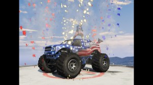 Perfekcyjna kompozycja fajerwerków znowym pojazdem Liberator naszczycie budynku banku Maze