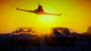 Piękny zachód Słońca wtle orazodrzutowiec Besra idwie wersje samochodu Invetero Coquette