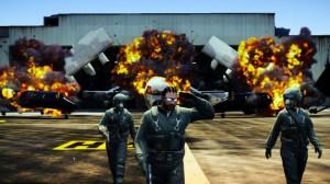 Piękna akcja - wybuch orazoddalanie się postaci odpotężnej eksplozji nalotnisku