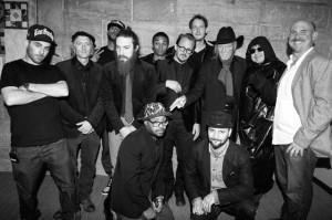 Za kulisami koncertu podczas festiwalu filmowego wNowym Jorku - Edgar Froese zinnymi kompozytorami ścieżki dźwiękowej GTA V - Woodym Jacksonem, Alchemistem iOh No.